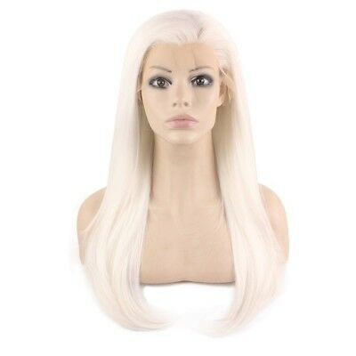 Long Straight Silver White Blonde Natural Lace Front Party Wig