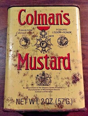 Vintage Collectible 1930 Colmans Mustard 2 Oz England Advertising Tin Can w/ Lid