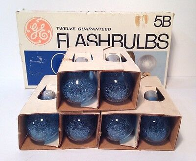 GE Type 5B Blue Flashbulbs Flash Bulb Vintage Camera  Package of 12