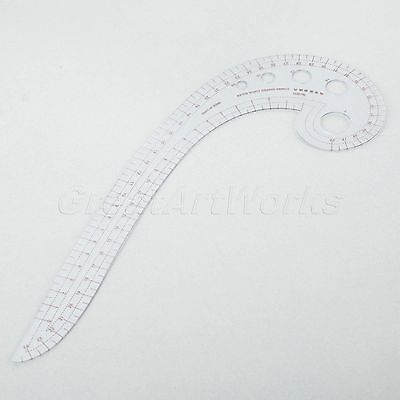 1pc Transparent Red Sewing Tools Plastic Comma Shaped Curve Ruler Styling Design