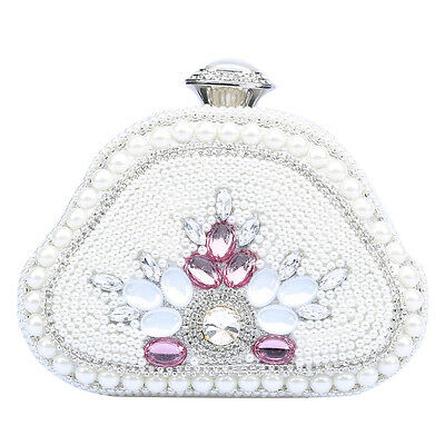 New Women Clutch Bag Pearl Beaded Party Bridal Handbag Wedding Prom Clutch Purse