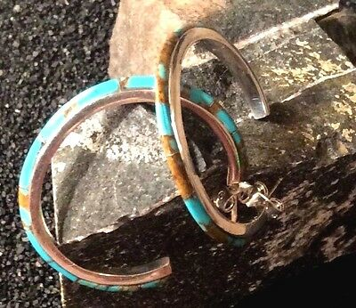 NATIVE AMERICAN Turquoise Inlaid Sterling Silver Hoop Earrings Copper Matrix