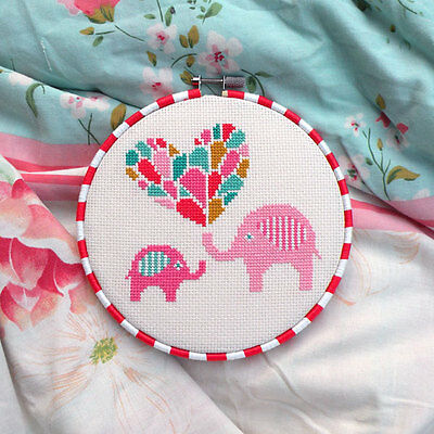 Elephants And Heart Counted Cross Stitch Pattern - Chart Only