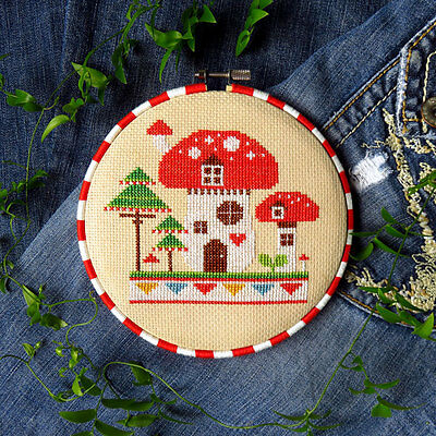Woodland Gnome Mushroom House Counted Cross Stitch Pattern - Chart Only