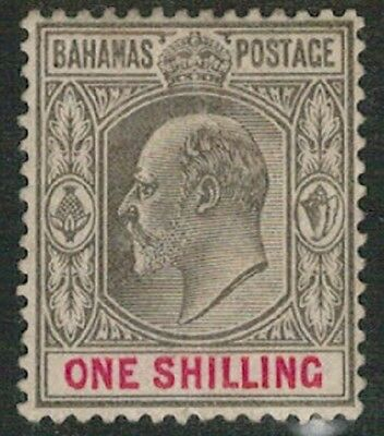 Lot 4103 - Bahamas - 1902 1s black and red King Edward VII Mint Hinged Stamp