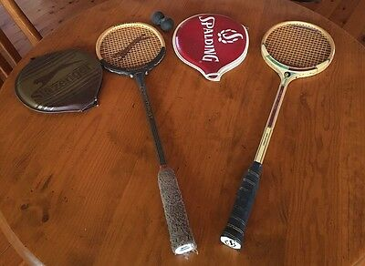 Squash Rackets Pair With Squash Balls. Slazenger And Spalding