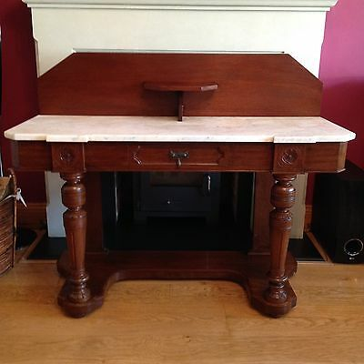 Antique Victorian Marble Top Washstand Old Vintage Raised Back Hall Table