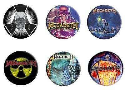 Megadeth 6 Button Badge Set #3 Rust In Peace Logo Official Metal Badges