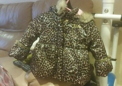 New Juicy Couture Baby Girls Leopard Print Jacket hooded coat12 months RRP $200