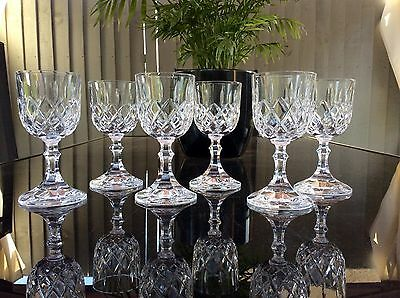 Beautiful Set Of 6 Royal Albert Crystal Cut Glass Wine Glasses