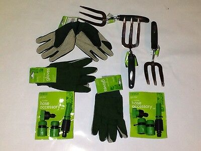 Garden Fork(3)-Stainless Steel+Gloves(3)+Hose Accessories(2)-BRAND NEW.