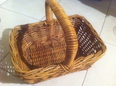 Cane Wicker Basket Rectangle Solid Shopping Picnic Craft Storage Knitting Wool