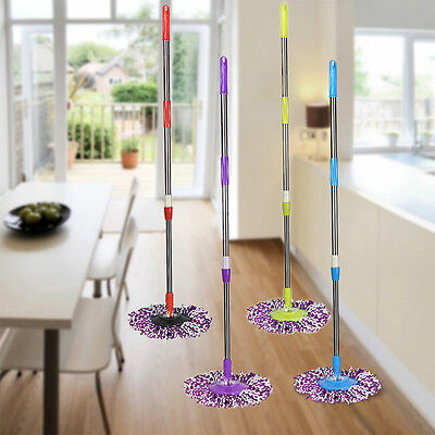 Replacement 360 Rotating Spin Mop Pole Handle + Floor Mop Head  for Home Clean