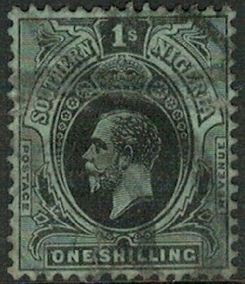 Lot 4118 - Southern Nigeria - 1910 1s black on green King George V Used Stamp