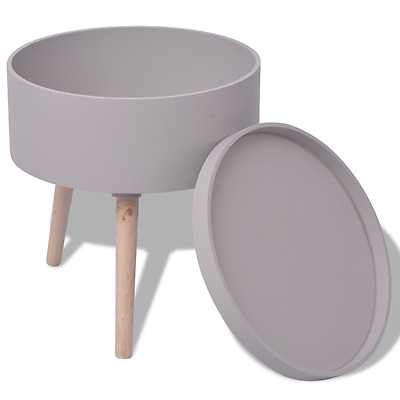 Grey Side Table Serving Tray Round Living Room Coffee Storage Wooden Legs Modern