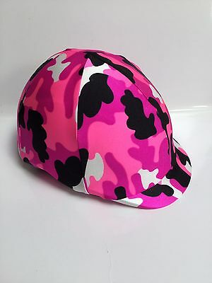 Horse Helmet Cover Pink Camouflage Lycra AUSTRALIAN  MADE