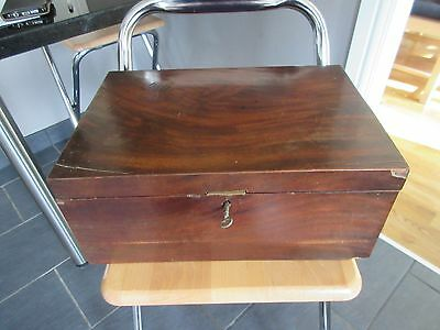 Vintage Mahoghany Wooden Box 36cm wide with secret compartment & lock & key