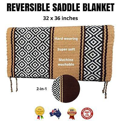 """Brown/Tan WESTERN/STOCK SADDLE PAD/SHOW BLANKET *Reversible Colours* 32"""" x 36"""