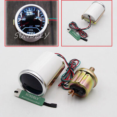 "CAR TRUCK 2"" 52mm SMOKE LEN LED INDICATOR OIL PRESSURE 0-100 PSI GAUGE"