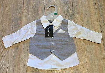 Peter Morrissey Baby Mock Shirt With Vest Size 00 (3-6 Months) BNWT