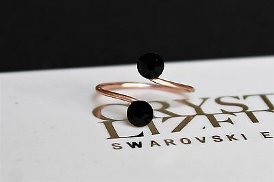 Rose Gold Plated Black JET Toe Ring made with Swarovski Crystal Elements