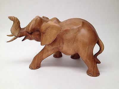 Lucky Elephant Feng Shui woodcarving sculpture Balinese  Brown vintage 38cm