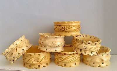 A Mixed Set Of Bovine Bone Deep Carved Chinese Napkin Ring Probably Late 19th C