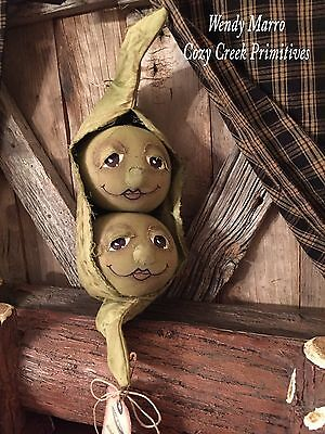 Handmade Primitive Folk Art Country Doll- Two Peas In A Pod- Anthropomorphic