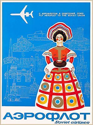 Soviet Airlines Russia Russian Soviet Union Vintage Travel Advertisement Poster