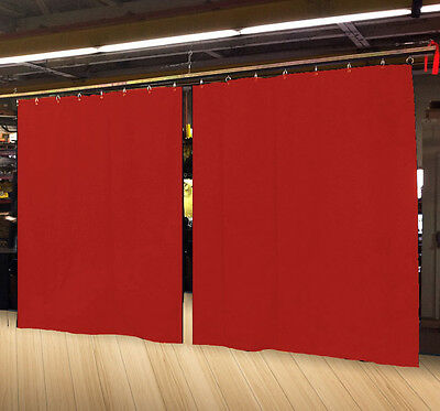 Lot of (2) Economy Red Curtain Panel/Partition 8 H x 4½ W, Non-FR