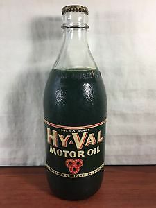 Vintage Gas & Oil Collectible Hy-Val Motor Oil Advertising NOS Glass Bottle