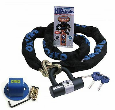 Oxford Motorcycle Motorbike Security 1.5 M Hd Chain Lock With Grid Ground Anchor