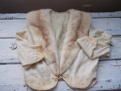 Vtg 50s Ivory Blond Mink Collar cropped embroidered lined sweater S M