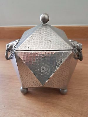 Pewter Tea Caddy With Lion Heads Made In England, 'RELIABLE' Sheffield