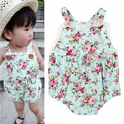 2pcs Newborn Baby Girl Floral Headband+Bodysuit Romper Jumpsuit Outfits Clothes