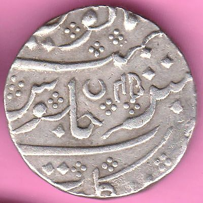 French India-Arkat Mint-Ah:1220/ry:45-Shah Alam-One Rupee-Rarest Silver Coin-31