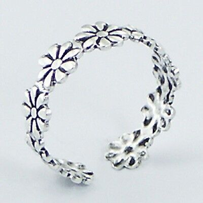 925 Sterling Silver Daisy Chain Flower Adjustable Open Toe Ring Gift Bag UK