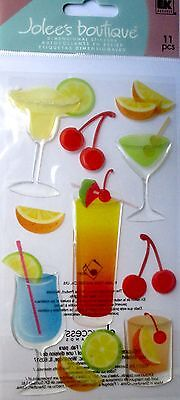 JOLEE'S BOUTIQUE LE GRANDE PARTY DRINKS Cocktail Scrapbook Sticker Embellishment
