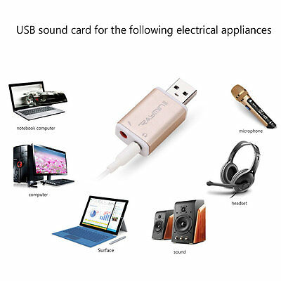 Portable Size USB Microphone Headphone Stereo Sound Card Audio Adapter AU