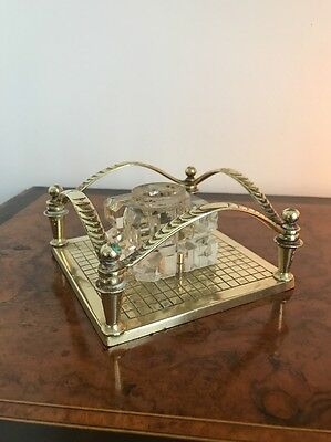 Antique Crystal Glass And Brass Inkwell Stand Desk Props - Gorgeous