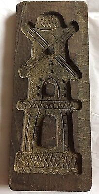 Antique Folk Art Hand Carved Wooden Butter Cookie Mold -Windmill