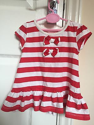 Next Baby Girls Red And White Stripe Tunic Size 3-6months