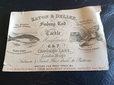 Rare Trade Card From Eaton & Deller Fishing Tackle Makers.