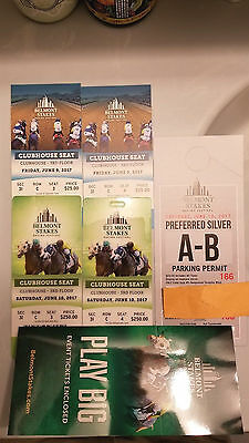 BELMONT STAKES 2017-CLUBHOUSE-3I ROW C seat 3 & 4 (W/ PARKING PASS and 2 photos)