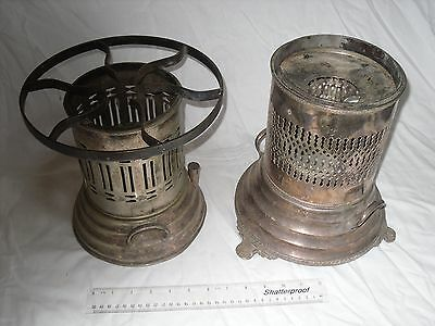 2 Silver Plated Warming Stands