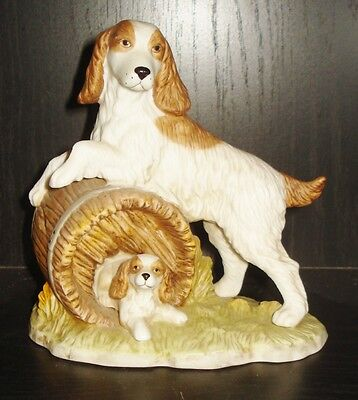 Vintage Porcelain Springer Spaniel Dog Figurine Beautiful Design