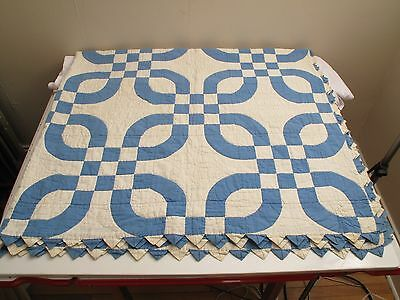 "Vtg Antique Hand Stitched Double Wedding Ring Quilt Blue White 80""x77' Full Quee"