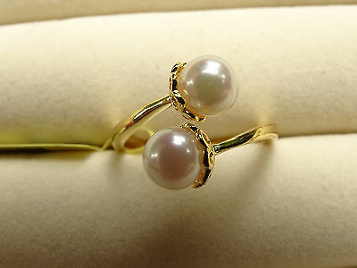 4.5Cts Japanese Akoya Pearl Twin Duet Crown 14K Y Gold/925 Ring Size Q