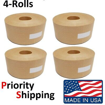 "4 Rolls Central 3"" x 500' Reinforced Gummed Kraft Paper Tape - Water Activated"