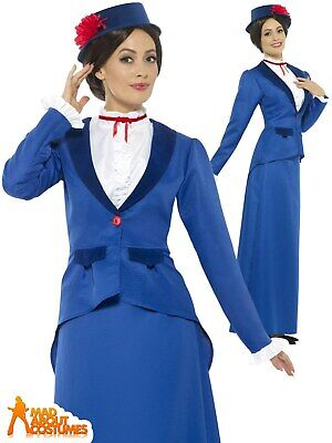 Adult Victorian Nanny Costume Ladies Mary Fancy Dress Day Womens Outfit